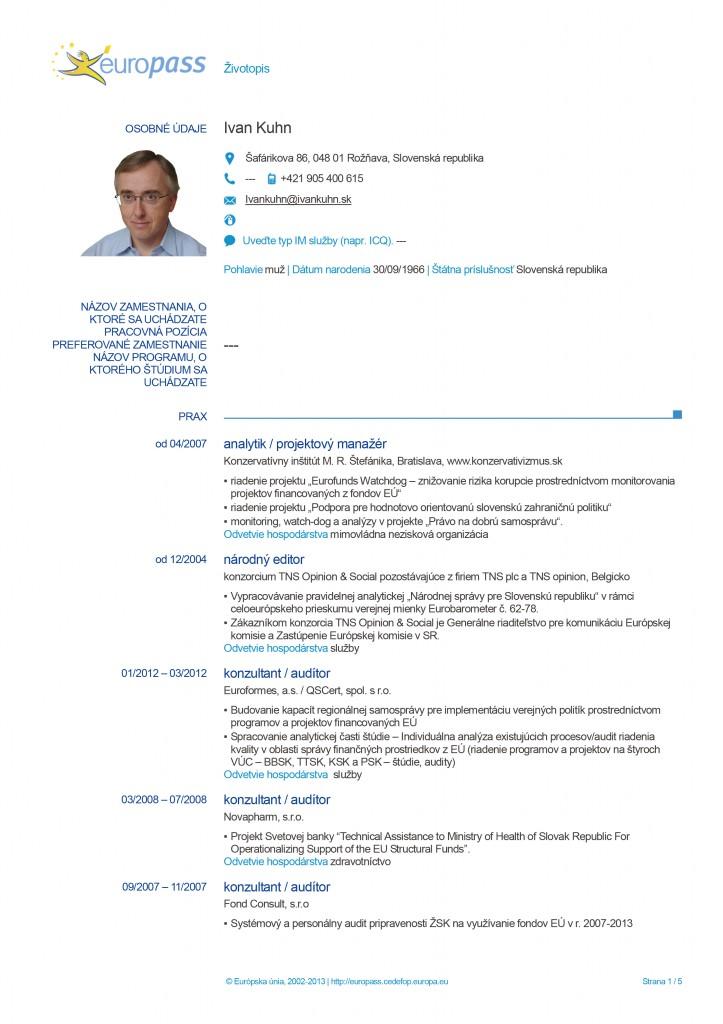 Europass CV page 1