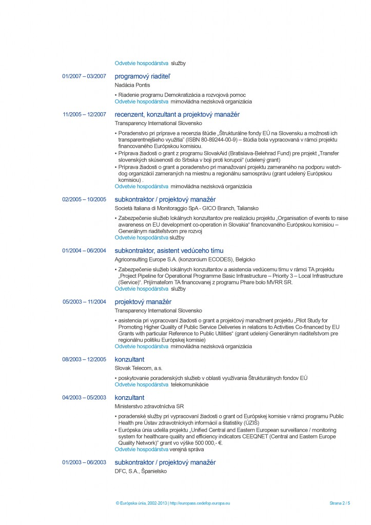 Europass CV page 2